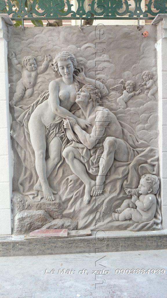 Phù điêu ART đắp trực tiếp vào tường bằng xi măng (xment) và bột đá dùng trang trí vách tường