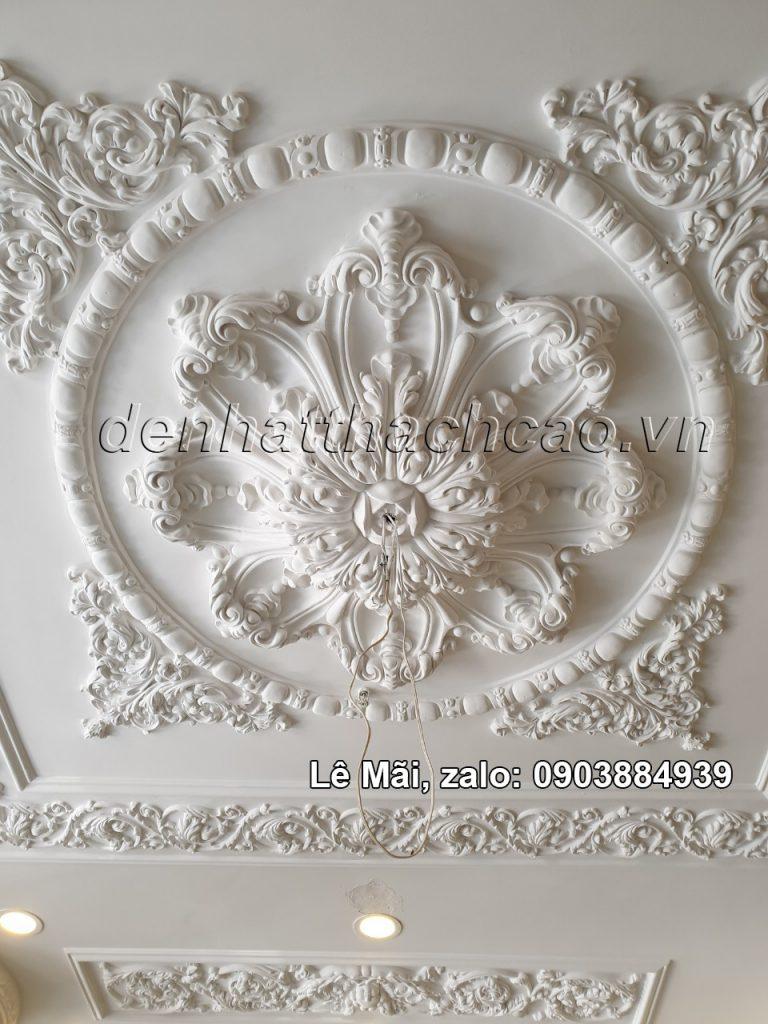 tran-co-dien bằng thạch cao, sơn trắng nhũ đồng